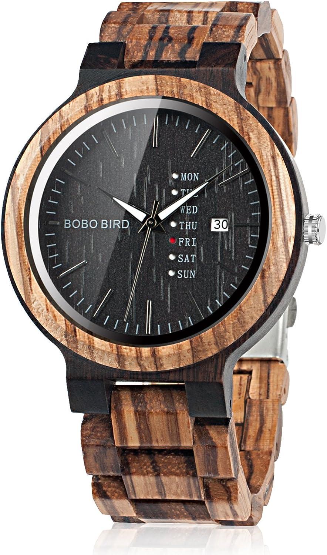 BOBO Bird - Reloj de Pulsera analógico de Cuarzo para Hombre con visualización semanal, Ligero, Hecho a Mano, de Madera, para Hombre