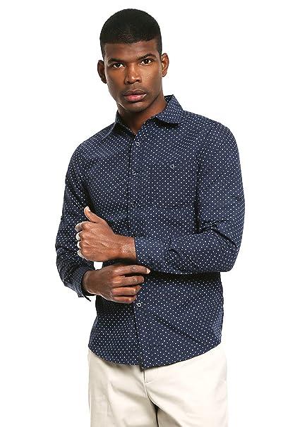 0a4940303c Simple People Camisa Azul Marino Estampado Estrellas Camisa para Hombre Azul  Talla L