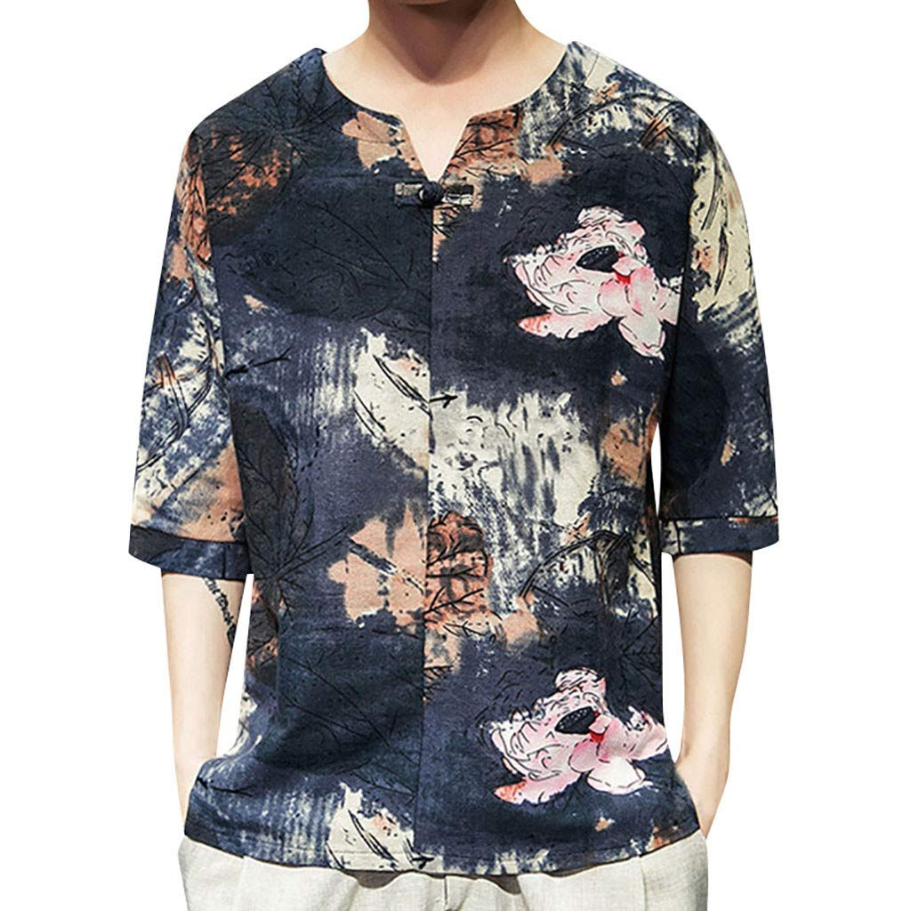 nightfall Mens Vintage Style Shirts,Tie Dye Half Sleeve Casual Cotton Linen Printing Beach Party Shirt,Beach Party Holiday