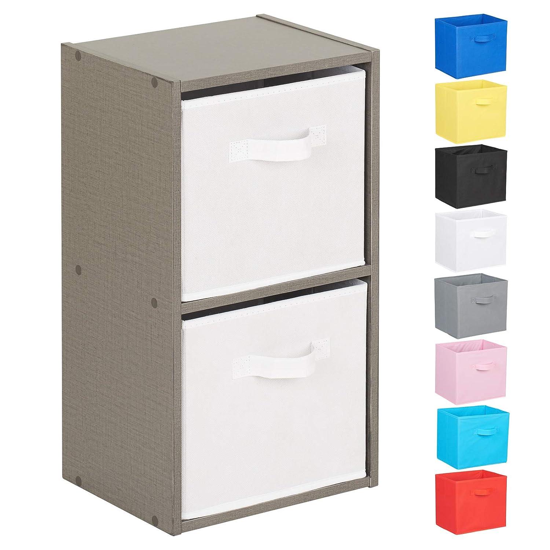 Choice of Storage Boxes Hartleys 2 Tier Grey Cube Unit