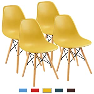 Furmax Pre Assembled Modern Style Dining Chair Mid Century Modern DSW Chair, Shell Lounge Plastic Chair for Kitchen, Dining, Bedroom, Living Room Side Chairs Set of 4(Yellow)