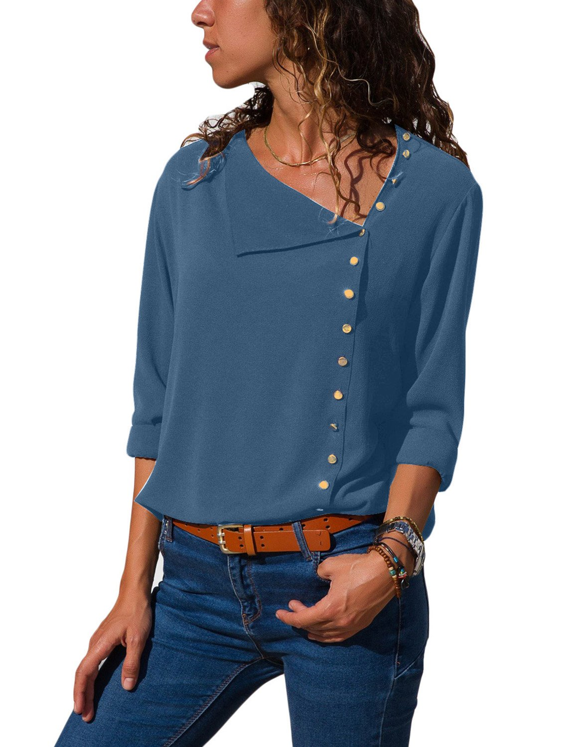 luvamia Women's Blue Side Buttons Shirt Casual Long Sleeve Chiffon Tops Solid Blouse Size M(US 8-10) by luvamia (Image #1)