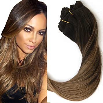 16 Inch Balayage Clip In Hair Extensions Light Brown Ombre Hair