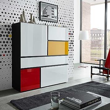 Wohnzimmer Highboard in Weiß Bunt modern Pharao24: Amazon.de: Küche ...