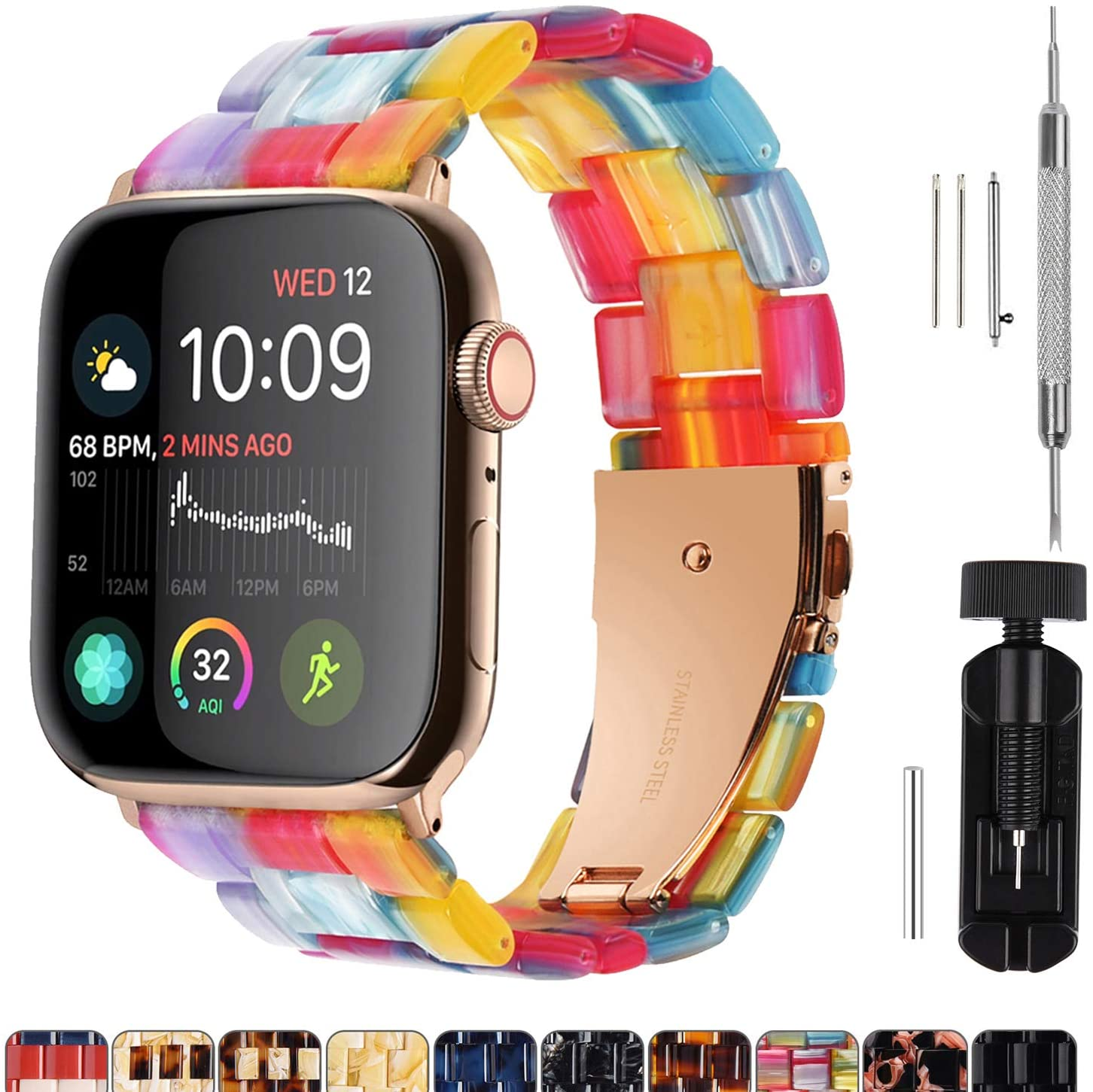 Fullmosa Compatible Apple Watch 44mm/42mm/40mm/38mm, Bright Resin Apple Watch Band for iWatch SE & Series 6/5/4/3/2/1, Hermes, Nike+, Edition, Rainbow(Gold Hardware) 44mm