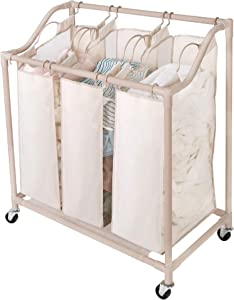 Smart Design Deluxe Rolling Triple Compartment Laundry Sorter Hampers w/Wheels - Sturdy Steel Metal Frame - Clothes & Laundry - Home Organization (Holds 6 Loads) (30 x 32 Inch) [Beige]