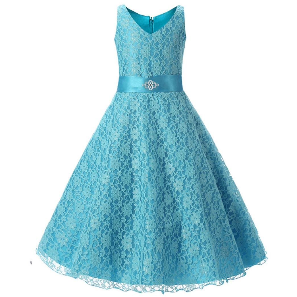Botrong® Lace Kids Girl Dress Princess Formal Pageant Gown Party Wedding Bridesmaid Dress (5T, Blue)