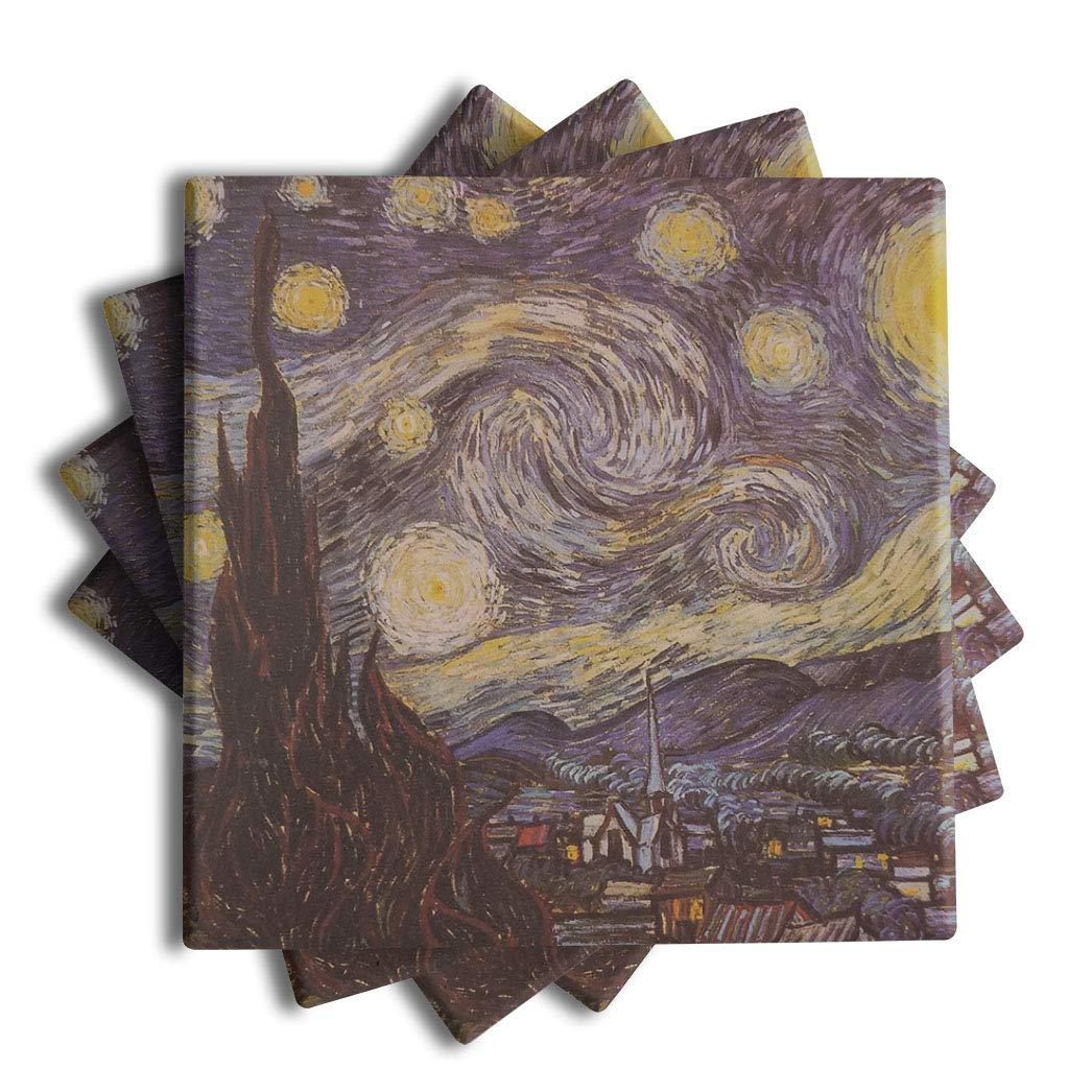 Vincent Van Goghアート – 吸収性セラミックドリンクコースター(セットof 4 ) – コレクションStarry Night、ひまわり、など。  The Starry Night B07FBYQWSK