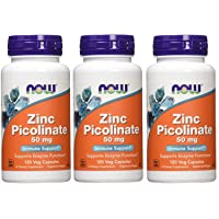 Now Foods, (3 Pack) Zinc Picolinate, 50 mg, 120 Veg Capsules