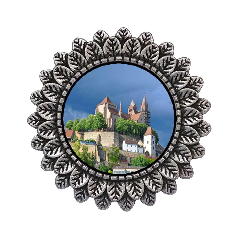 GiftJewelryShop Ancient Style Silver Plate Travel Black Forest Germany Leaves Cameo Pins Brooch