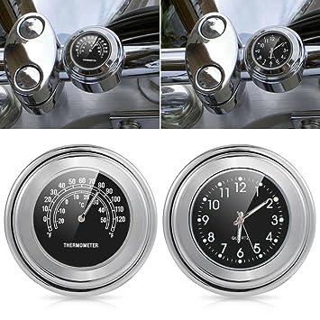 """universal Reloj Relojes Moto Manillar Reloj termómetro universal Temp 7/8 """" Para Harley"""