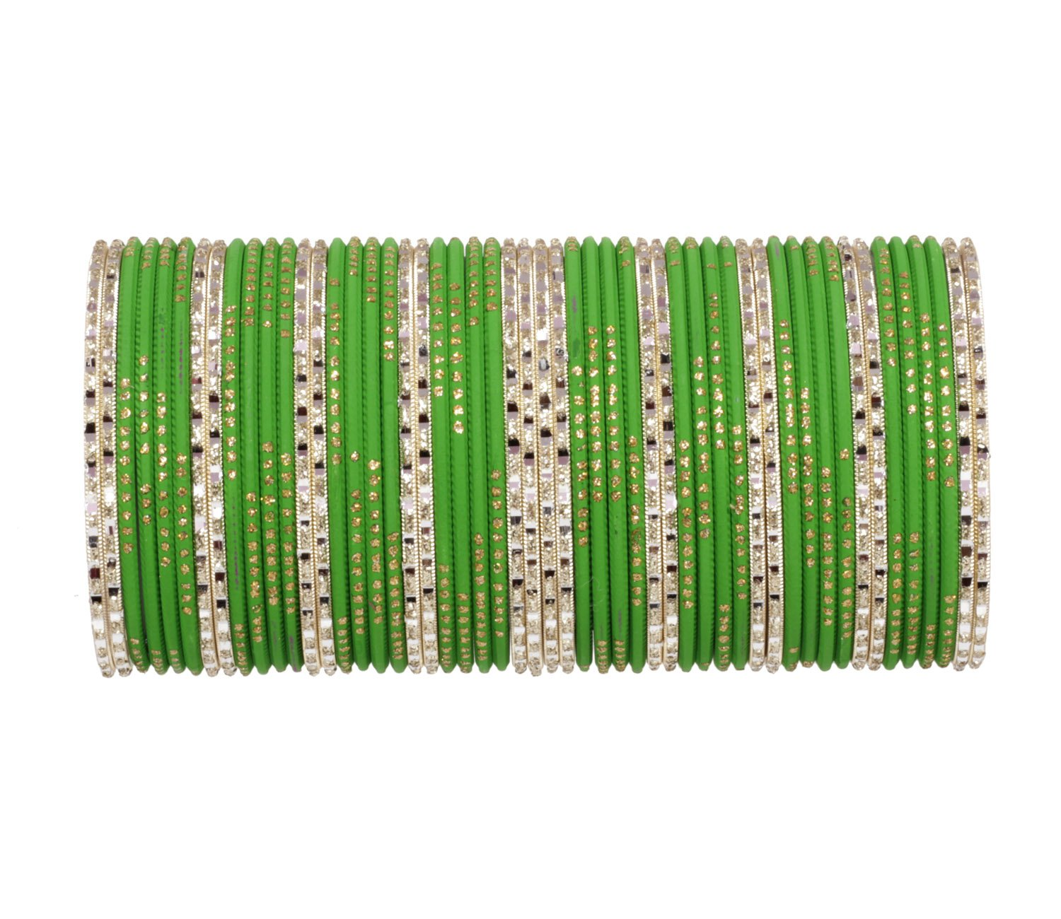 Ratna Attractive Green Punjabi Style Bangles Set of 52 Pieces Traditional Wedding Jewelry (2.8)