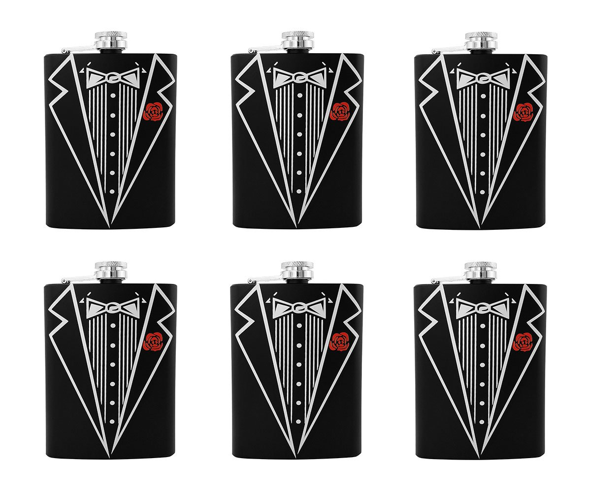Gifts Infinity Set of 6 Groom, Bestman, Groomsman, Bachelor Party Stainless Steel Hip Black Tuxedo Flask 8o by GIFTS INFINITY