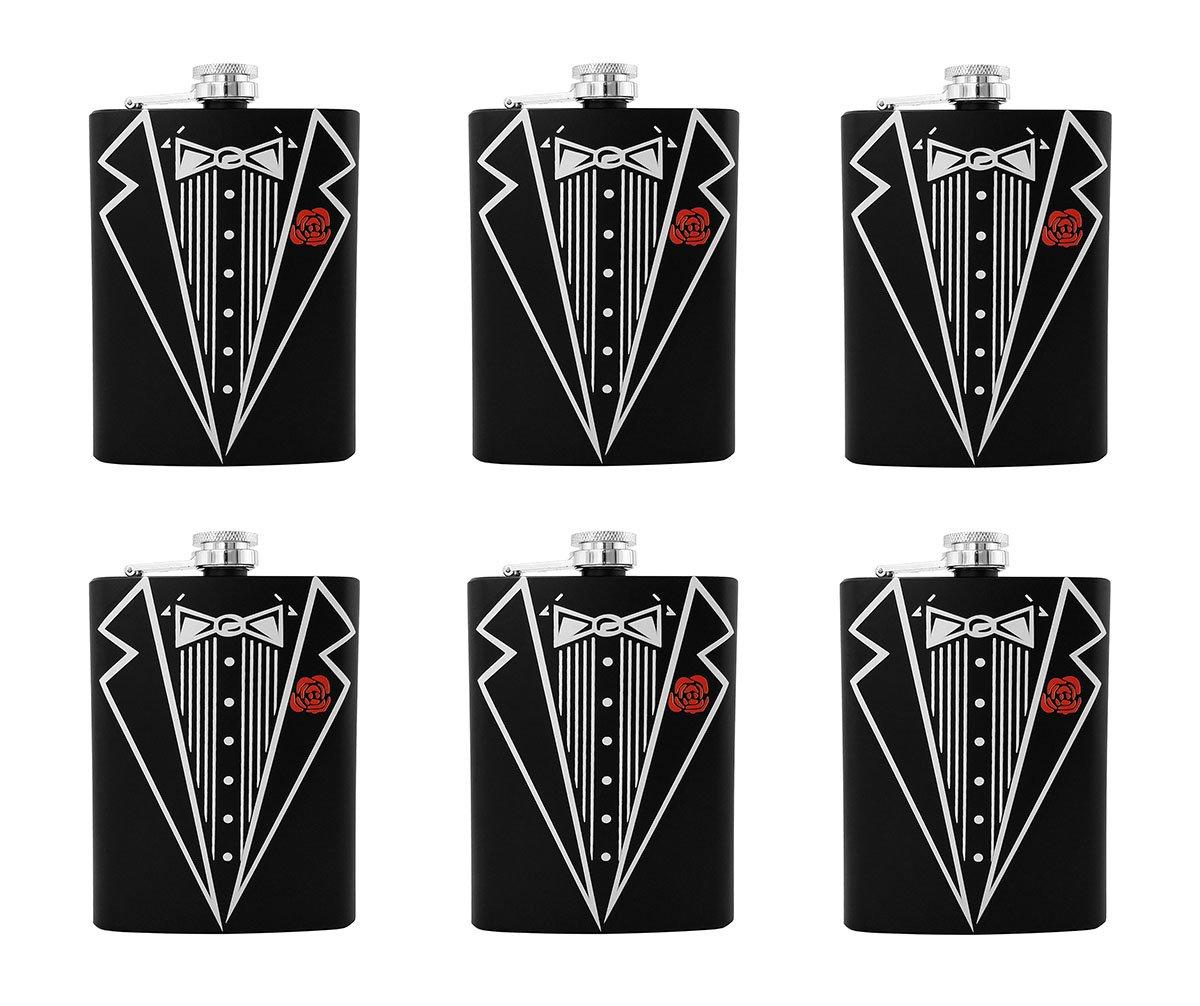 Gifts Infinity Set of 6 Groom, Bestman, Groomsman, Bachelor Party Stainless Steel Hip Black Tuxedo Flask 8o