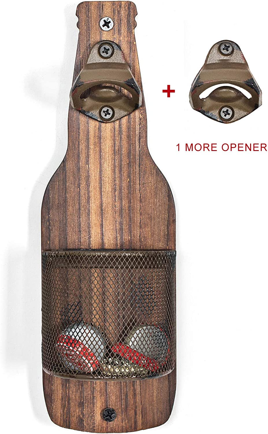 SODUKU Vintage Wooden Wall Mounted Bottle Opener with Cap Catcher for Beer Lovers
