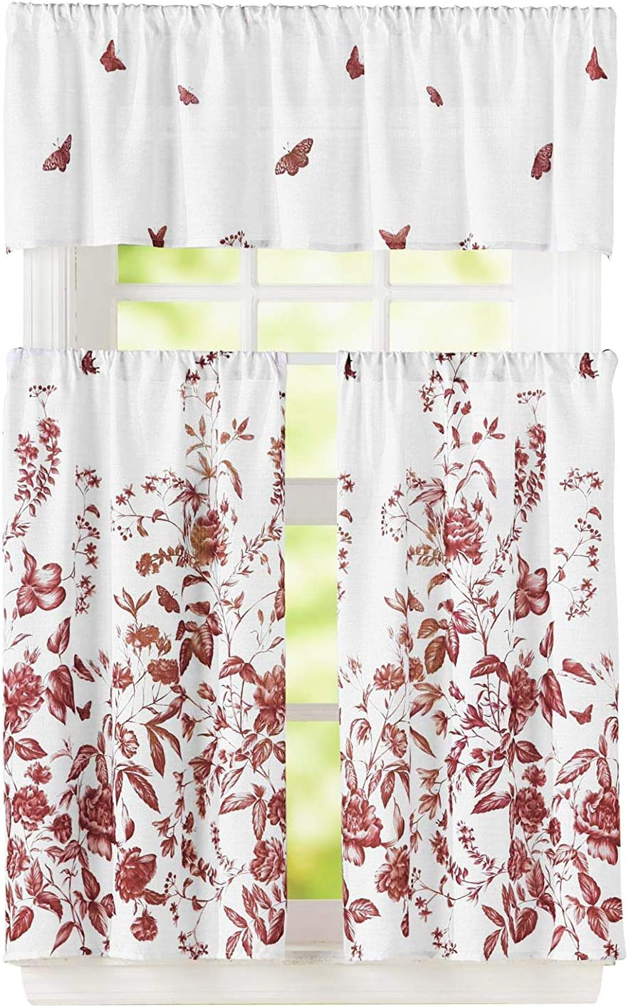 Bathroom and More 3 Piece Window Curtain Set Floral Design, One Valance, Two Tiers (Burgundy, 36