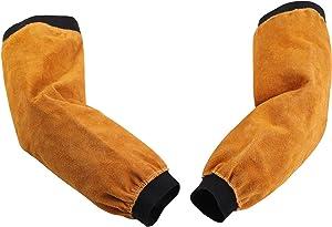 Benozit 18inch Leather Welding Sleeves for Men&Women, Heat & Flame Resistant Arm Protection, Heavy Duty Work Arm Guard, Puncture Resistant Sleeves for Garden