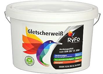 RyFo Colors Gletscherweiß 12,5l   Extra Weiße Wand Farbe, Sehr Hoher