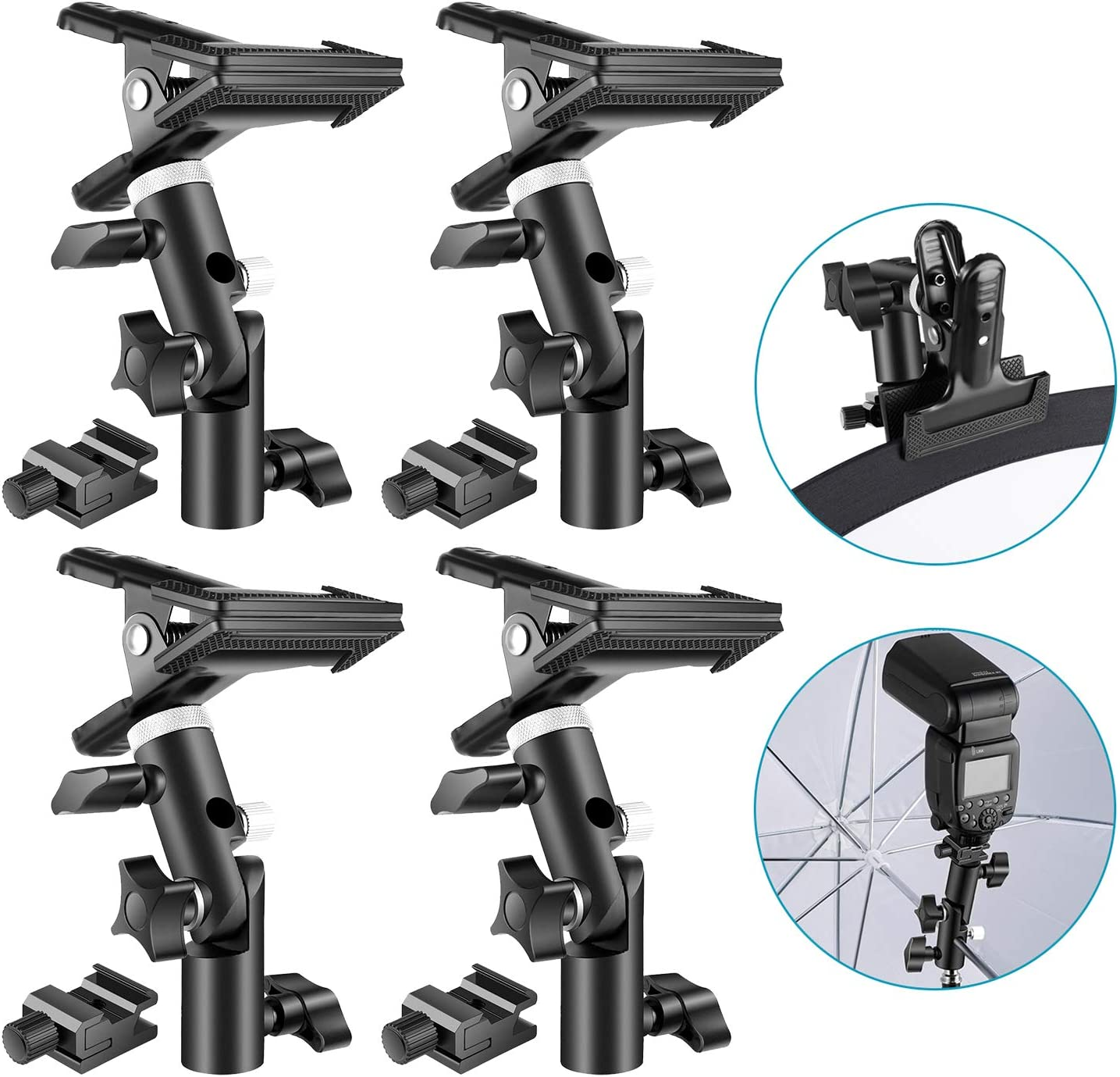 Neewer 4 Packs Photo Studio Heavy Duty Metal Clamp Holder and Cold Shoe Adapter for Clamping Reflector or Mounting Speedlite Flash and Umbrella on Light Stand