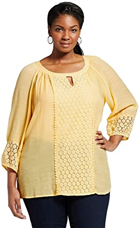 44307ed7fc10f Zac and Rachel Women s Plus Size Printed Laundered Slub Tunic at ...