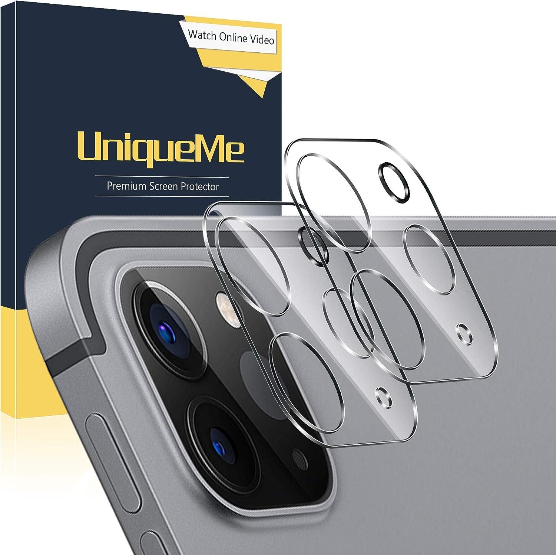 UniqueMe [2 Piezas] Protector de Pantalla de Lente de Cámara para iPad Pro 11 Pulgada / 12.9 Pulgada 2020, [9H Dureza] [HD Film] [Anti-Mancha] Cristal Vidrio Templado de Lente de Cámara Premium