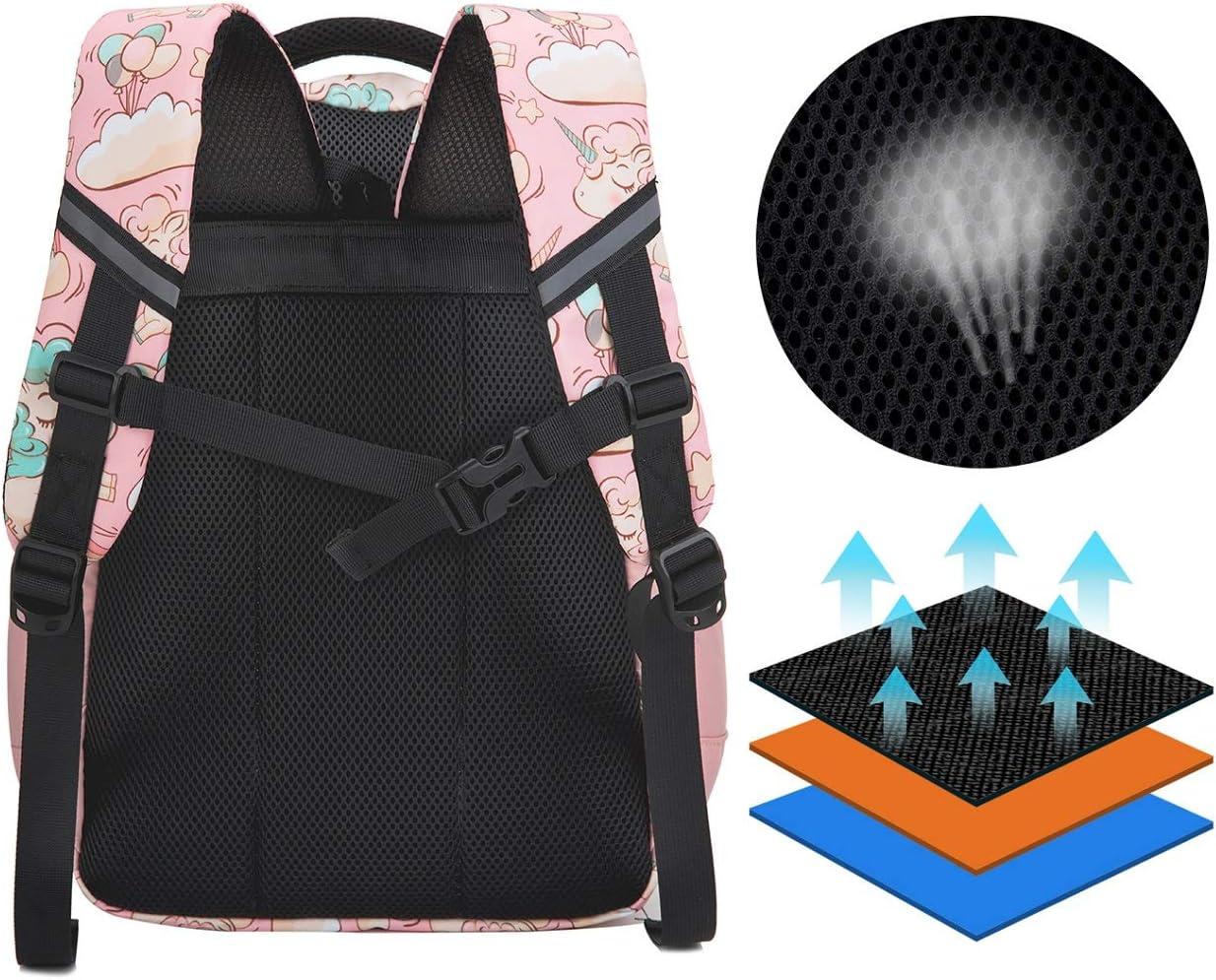 Unicorno Zaino Scuola Elementare Impermeabile Zaini Bambino Sacchetti di Scuola Per Ragazze leggero campeggio borse casual Daypacks per adolescenti studenti 3 pezzi Pink1