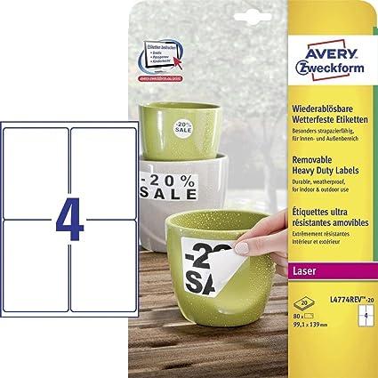 gelb 88 Stk. Folienetiketten A4 Bogen 40 x 12 mm selbstklebend Polyester