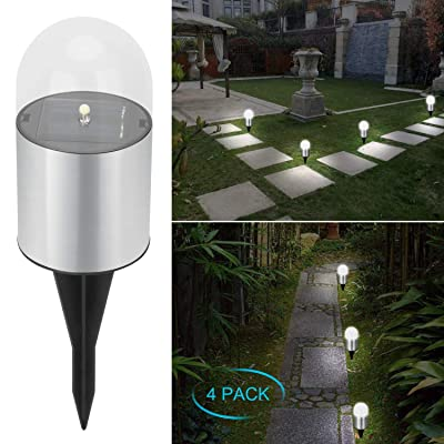 Adecorty Solar Garden lights - Bright Solar Pathway Light Outdoor Waterproof Solar Stake Light Auto On/Off Sun Powered Landscape Lighting for Yard Patio Lawn Path Walkway Driveway (Cool White, 4 Pack): Industrial & Scientific