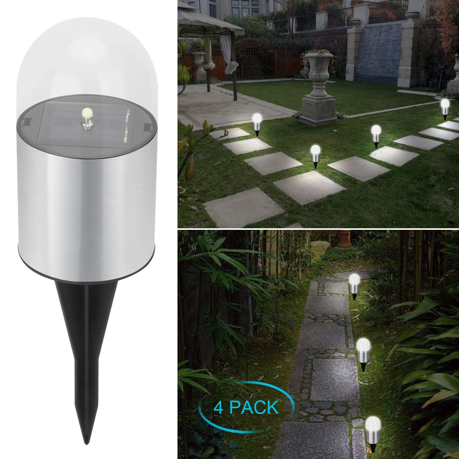 Adecorty Solar Garden lights - Bright Solar Pathway Light Outdoor Waterproof Solar Stake Light Auto On/Off Sun Powered Landscape Lighting for Yard Patio Lawn Path Walkway Driveway (Cool White, 4 Pack) by Adecorty
