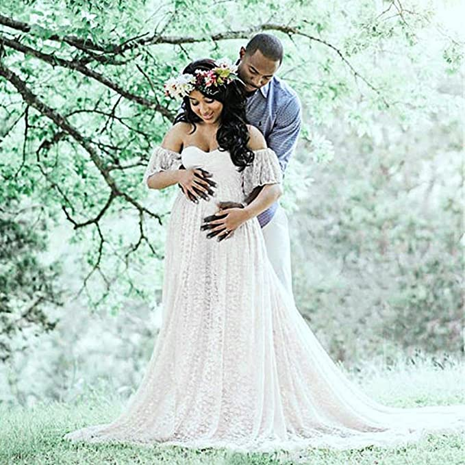 Amazon.com: Sothread Photography Maternity Dress Off Shoulder Lace Long Dress Wedding Dress: Clothing