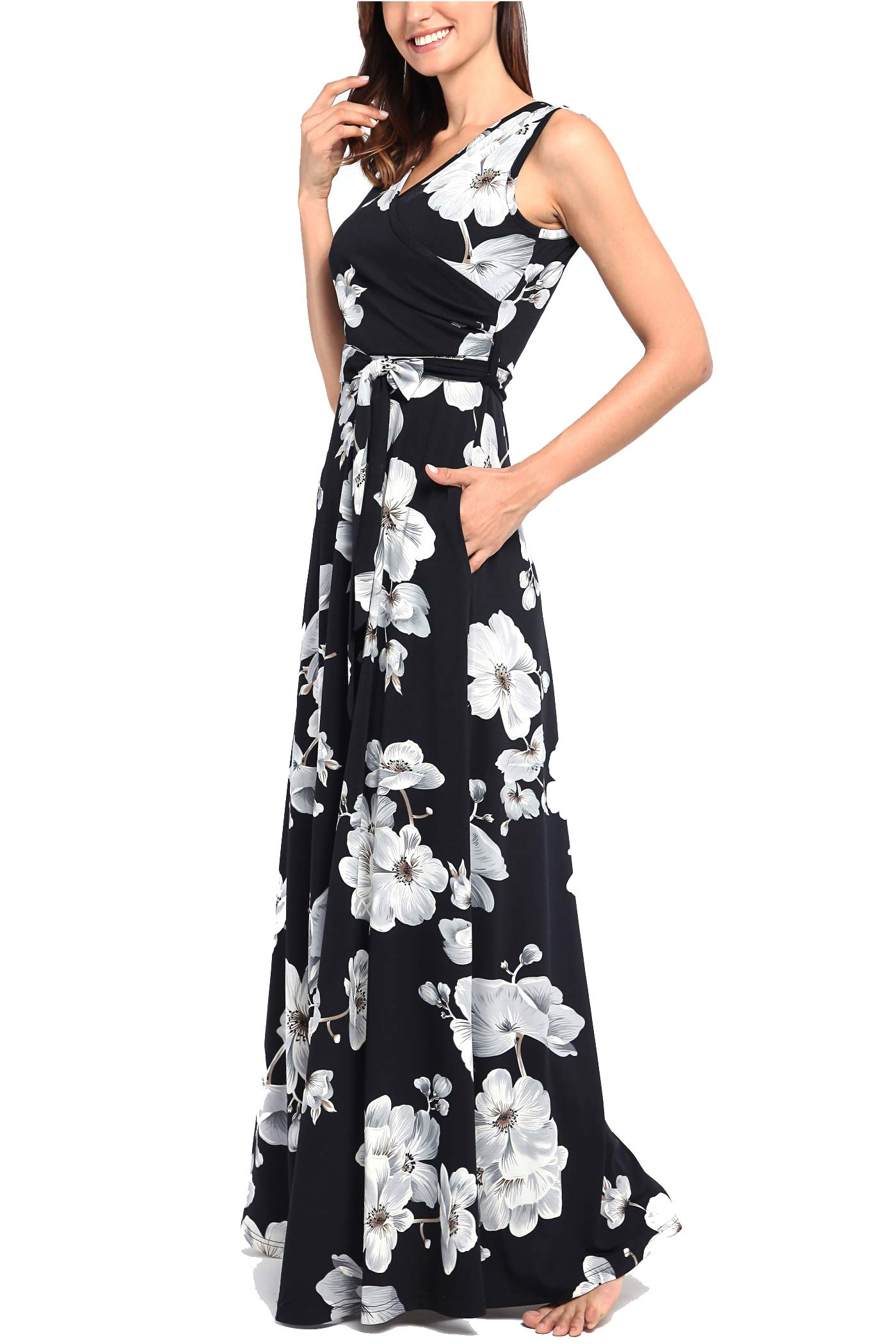 Comila Floral Dresses for Women Casual Beach Holiday, Sexy Warp V Neck High Waist with Bow Fashion Vintage Floral Printed Sleeveless Casual Tank Dress with Pockets Black M(US8-10) by Comila (Image #5)