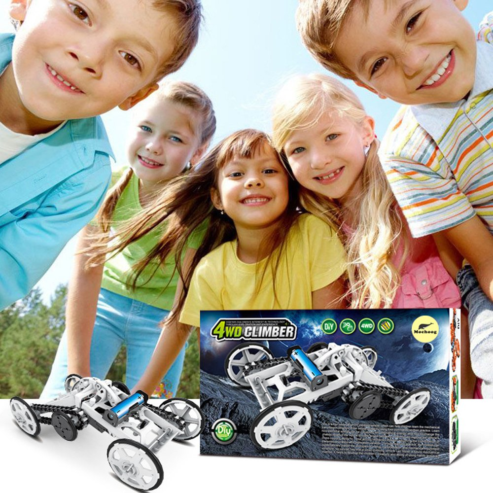 Mochoog STEM 4WD Electric Mechanical Assembly Gift Toys Kit | Intro to Engineering, DIY Climbing Vehicle, Circuit Building Projects for Kids and Teens | DIY Science Experiments Using Real Motor by Mochoog (Image #8)