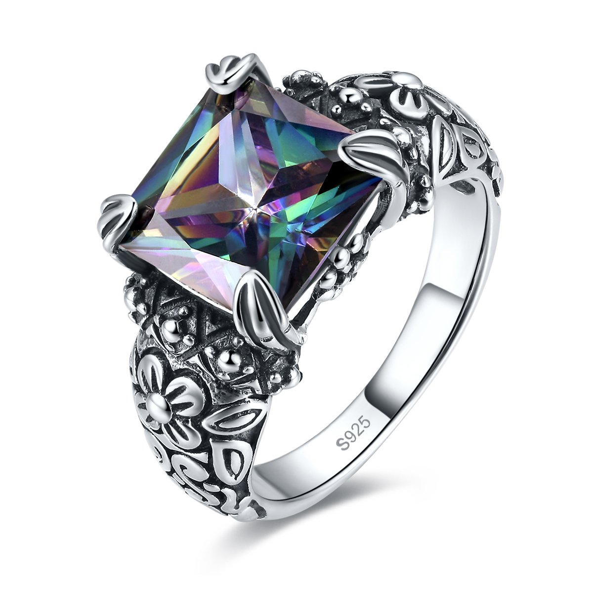 Merthus Antique Style Womens 925 Sterling Silver Created Mystic Rainbow Topaz Floral Band Ring