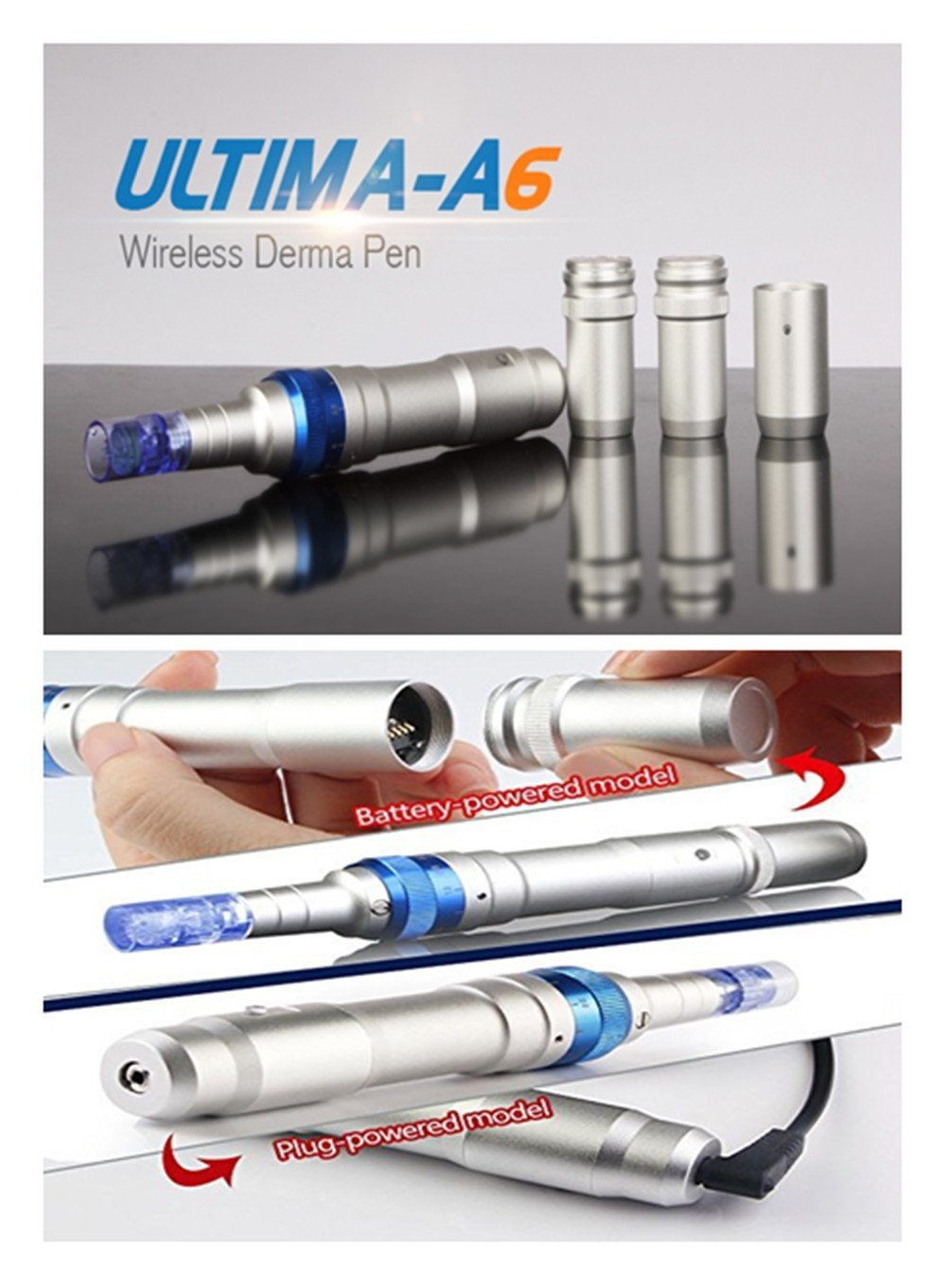 Dr. Pen Ultima A6 Rechargeable Therapy Professional System & Dr Pen A6 Accessories - for Scars, Acne, Wrinkles, Spot Removal, Hydrating, Whitening (2 Batteries+10PCS Cartridges) by Dr. Pen (Image #10)
