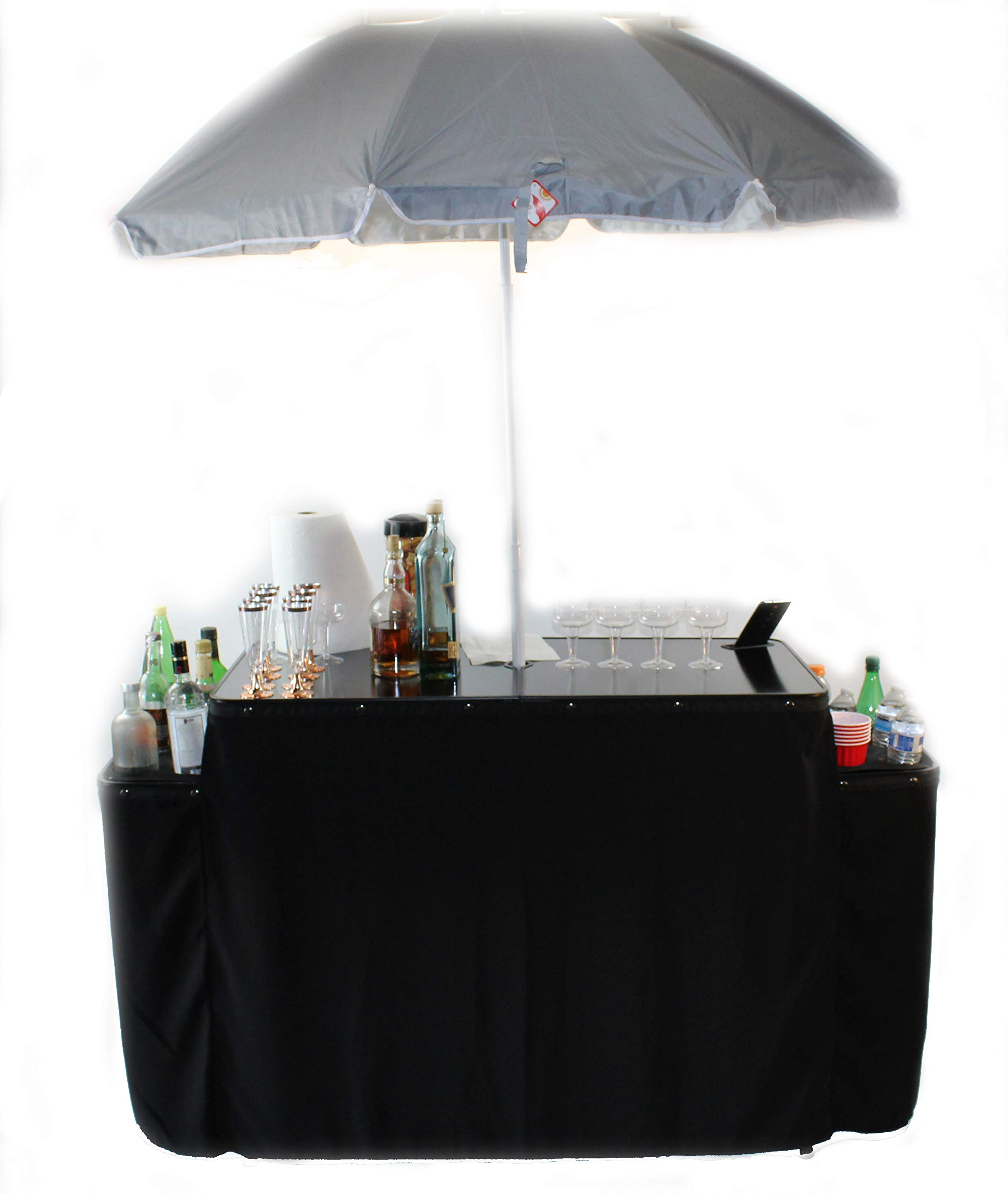 World Outdoor Products Professional Portable Folding Bartenders Table with Umbrella,Twelve Bottle Holders,Decorative Skirt, Custom Carry/Storage Bag