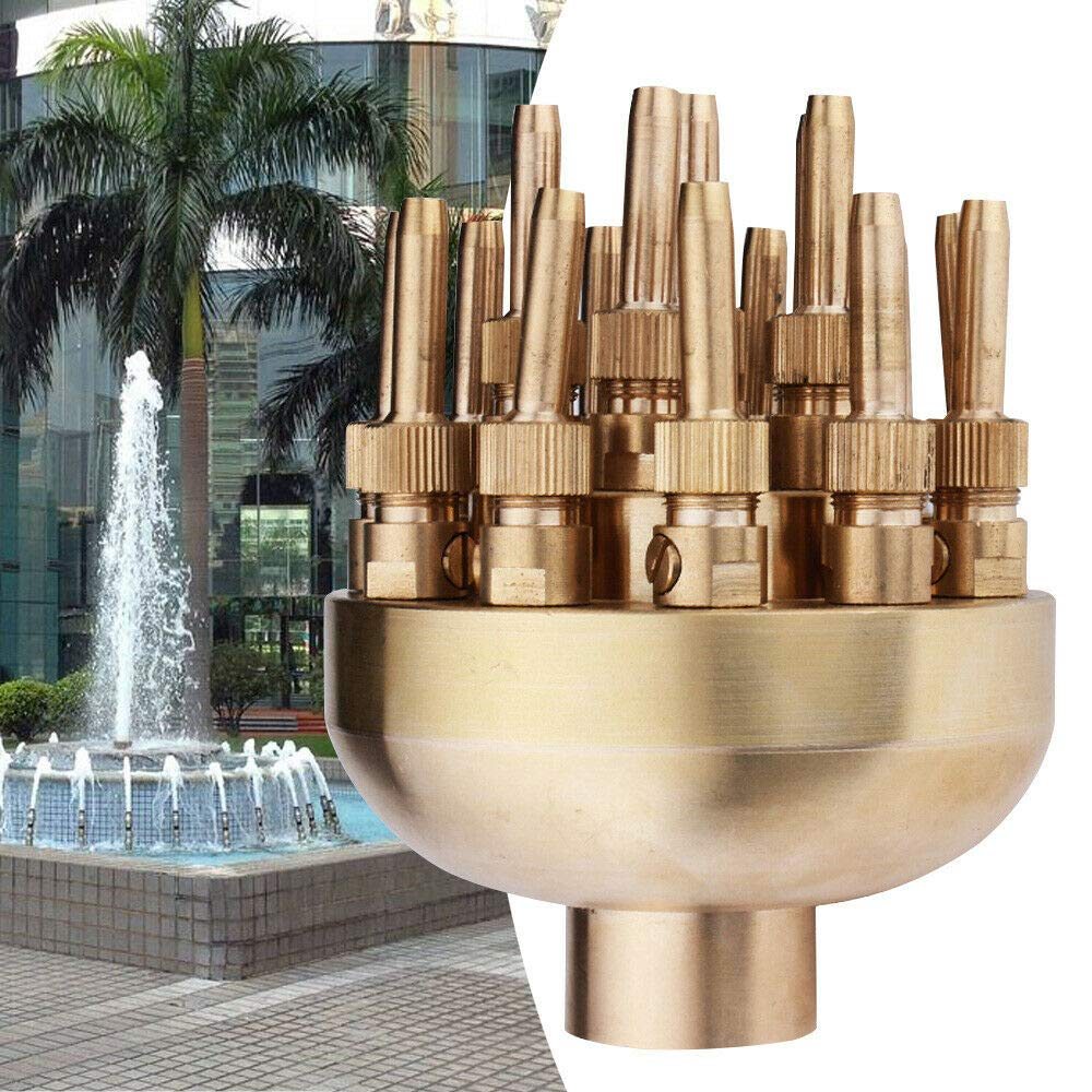 NICE CHOOSE 1.5'' Brass Water Fountain Nozzle 19 Sprinklers Spray Head for Outdoor Garden Pond Amusement Park Museum Library - US Shipping