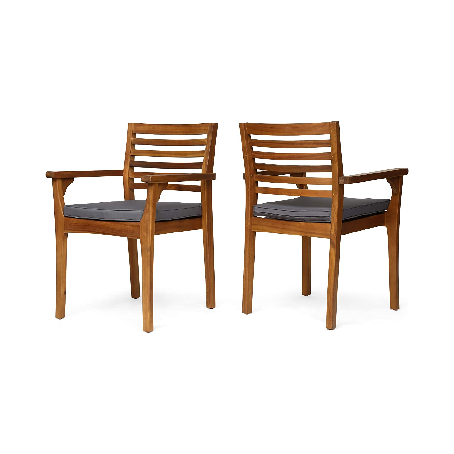 Great Deal Furniture Esther Patio Dining Chairs, Acacia Wood and Outdoor Cushions, Teak and Dark Gray Set of 2