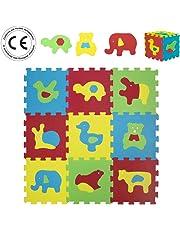 LUDI – Tapis de sol épais pour l'éveil de bébé – 1050 - puzzle géant aux motifs Animaux – dès 10 mois – lot de 9 dalles en mousse multicolores et 18 éléments pour tapis de jeu.