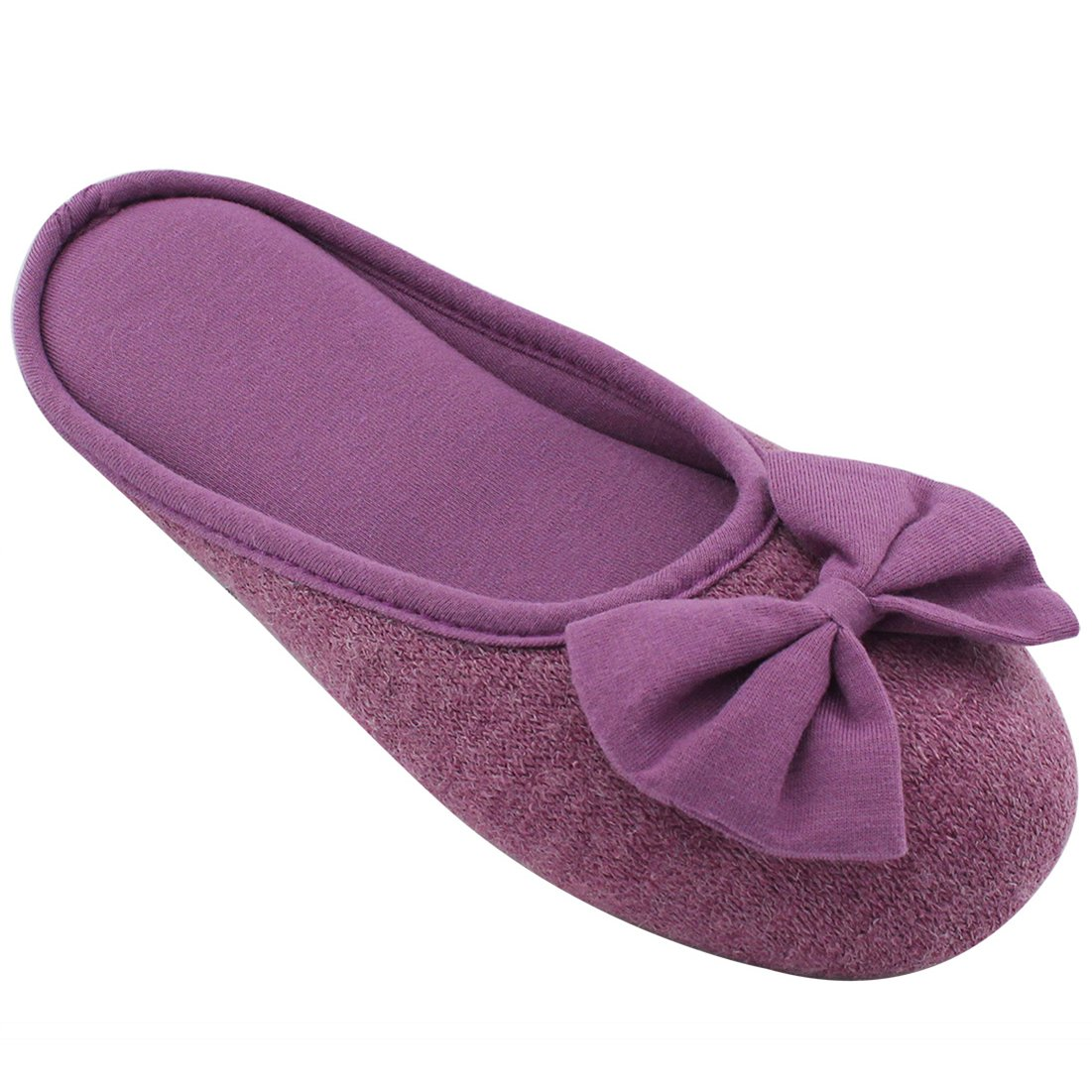 HomeTop Women's Cozy Cashmere Cotton Closed Toe House Slippers with Cute Bow Accent (Medium/7-8 B(M) US, Purple)