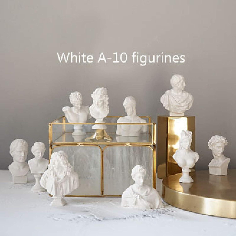 KKONION 10 Pcs Mini Plaster Bust Figurine Classic Greek Men Figure Statues Resin Sketch Figurines Ornaments Home Decor