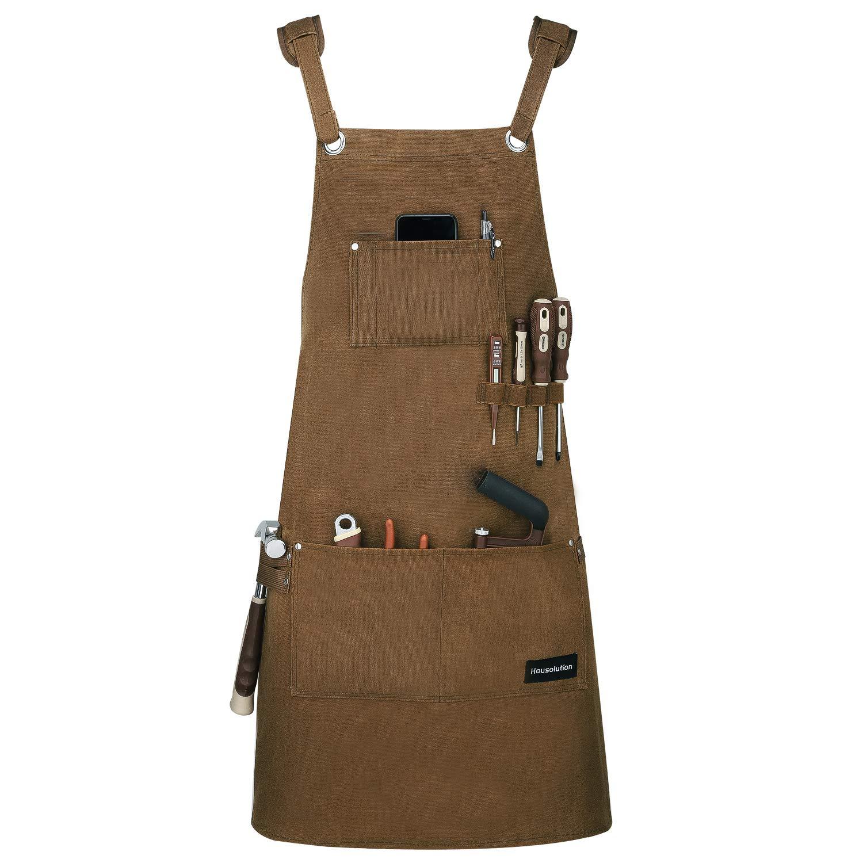 Housolution 作業エプロン 多機能 耐油防水 ワックスキャンバス素材 サイズ調節可能 男女兼用 収納ポケット付き クロス型 M-XXL Brown  brown B07HQ6RNS9