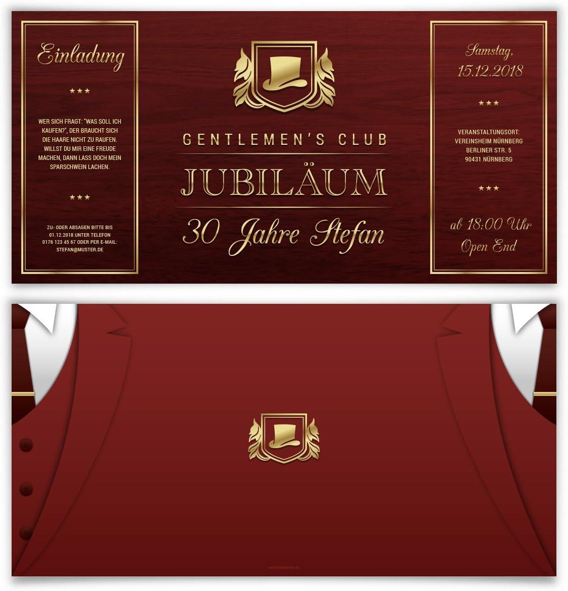20 x Geburtstag Einladungskarten Einladung Karten Altarfalz 148mm Gentlemens Club