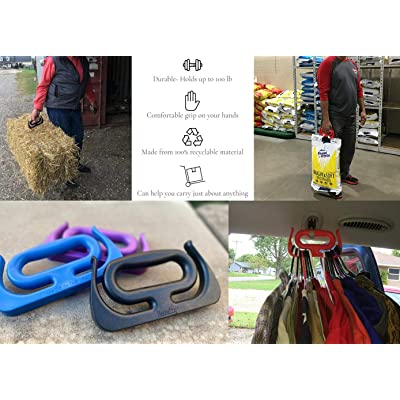 Grocery Shop Holder Smart Bag Shopping Handle Basket Carrier Package Grips Red