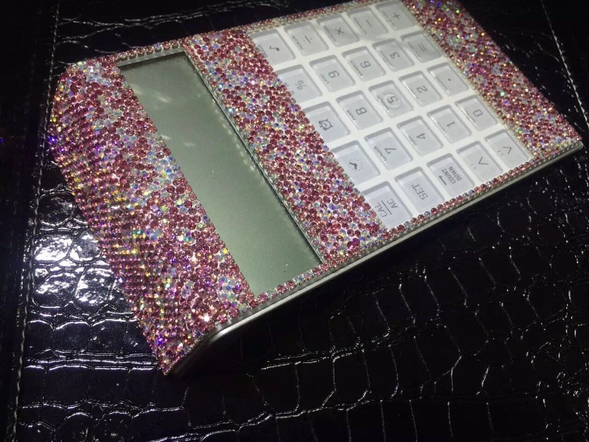 TISHAA Bling Bling Clear Crystal Decorative Office Calculator(Pink Crystal)