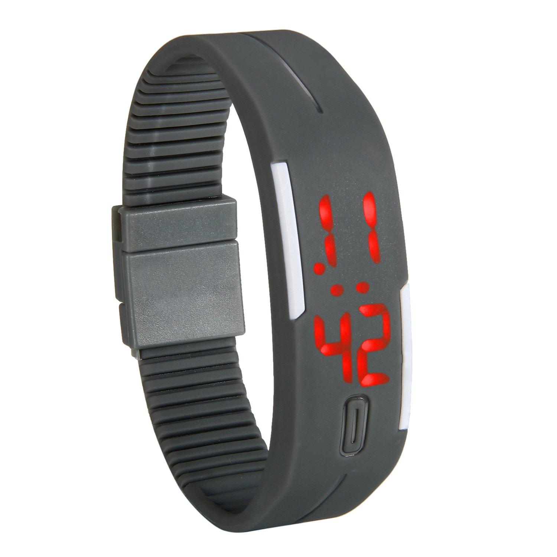 Reloj LED lancardo reloj pulsera digital con LED indicador–Pulsera de silicona pulsera de deporte para niños/jóvenes, chicos y chicas gris