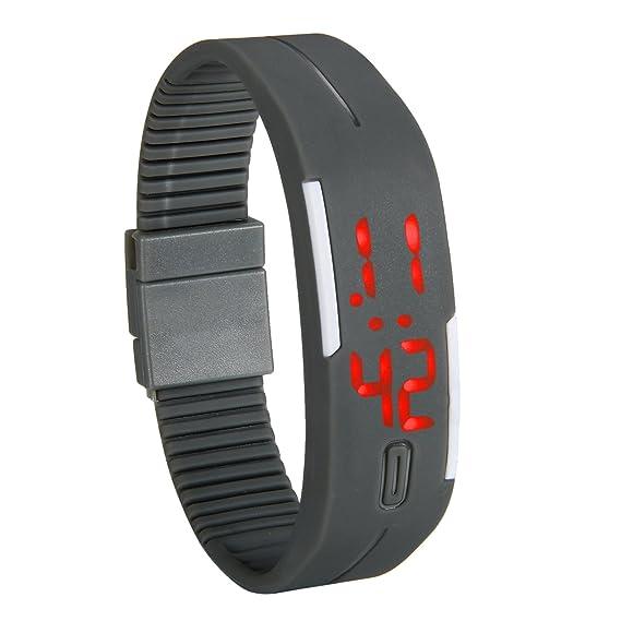 Reloj LED lancardo reloj pulsera digital con LED indicador - Pulsera de silicona pulsera de deporte para niños/jóvenes, chicos y chicas gris: Amazon.es: ...