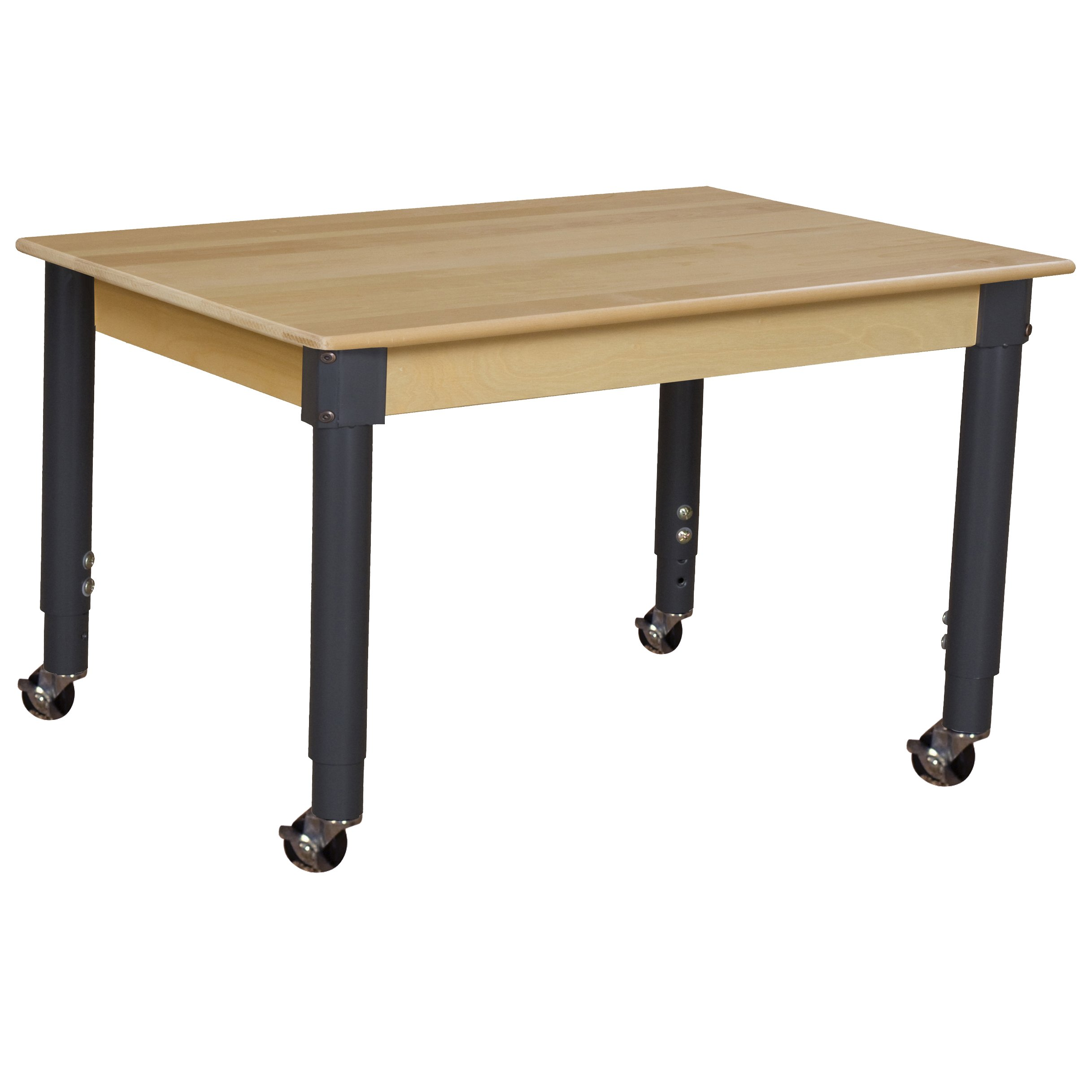Wood Designs WD848A1829C6 - Mobile 24'' x 48'' Rectangle Hardwood Table with Adjustable Legs 20-31''