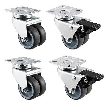 athomestore 4 unidades 2/50 mm ruedas ruedas con freno Ruedas dobles cargas pesadas