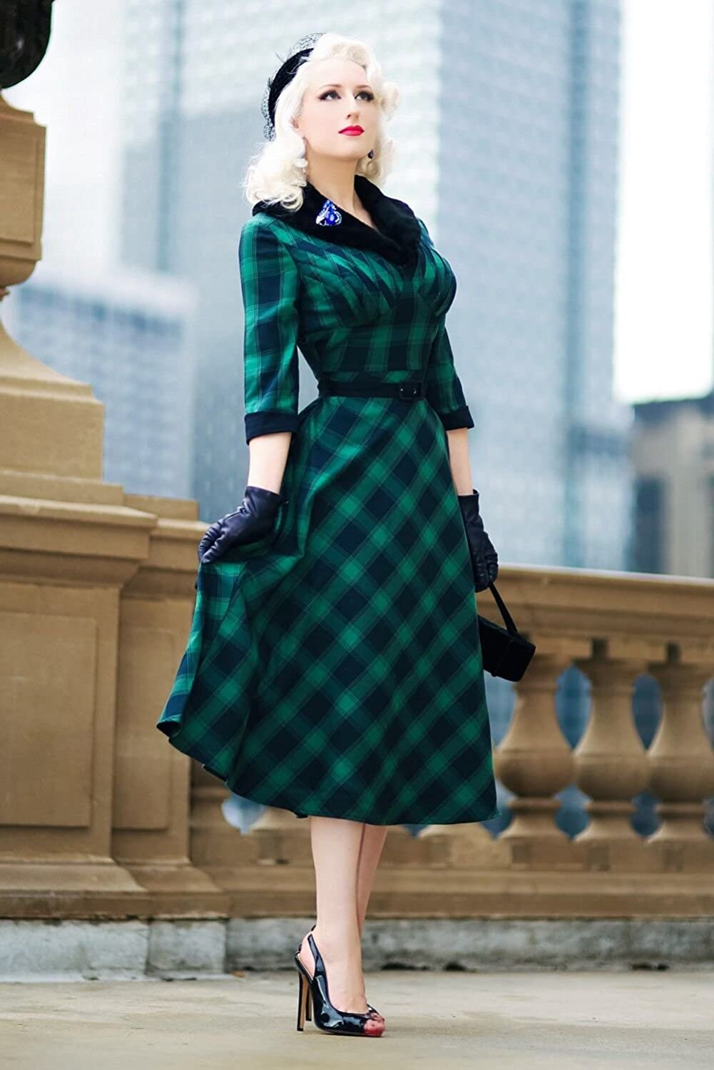 1950s Housewife Dress | 50s Day Dresses Voodoo Vixen Retro Vintage Lola Plaid Faux Fur Collar 3/4 Sleeve Swing Dress $81.95 AT vintagedancer.com