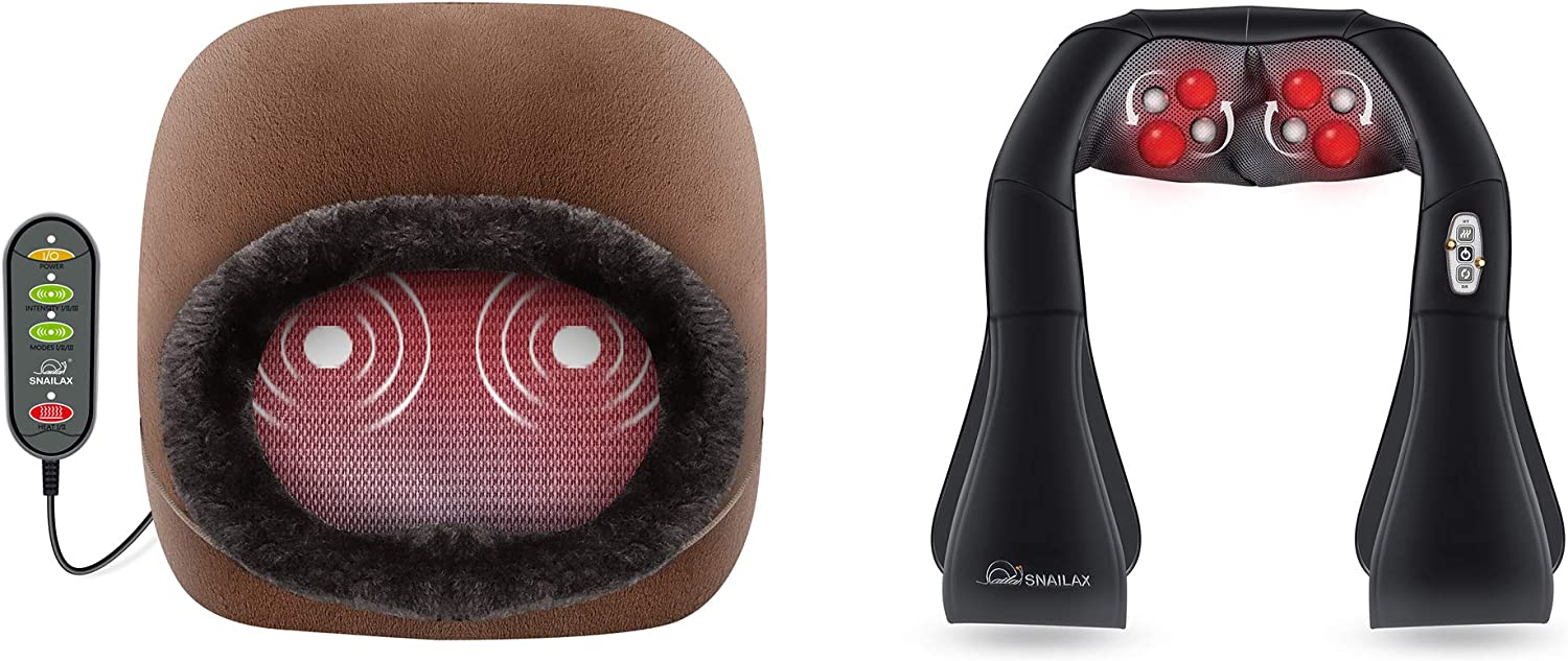 Snailax 3-in-1 Foot Warmer Neck Massager Bundle | Vibration Massage with 2 Settings of Heating Pads, Feet Massage Machine for Foot,Leg,Back Pain Relief